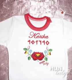 3d60198698 Lányka BODY - rövid ujjas kézzel hímzett magyar mintával - egyedi névvel,  rovásírássalagyaros Macskarózsás kalocsai mintával - Kittike